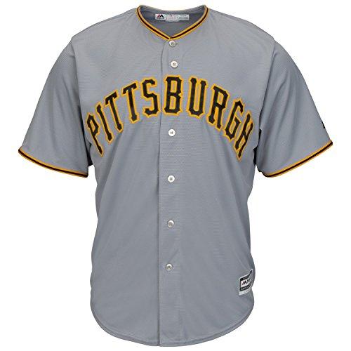 Majestic MLB Baseball Trikot Jersey PITTSBURGH PIRATES Cool Base grau (L) (Majestic Baseball Jersey)