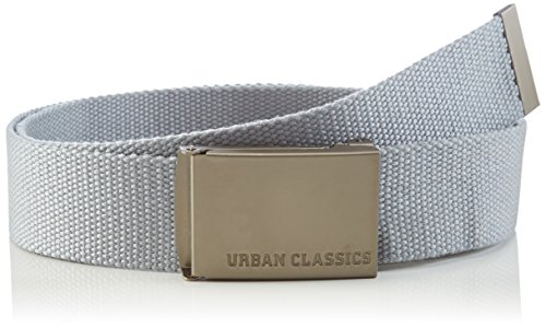 Urban Classics TB305 Unisex Gürtel Canvas Belt für Herren und Damen, stufenlos verstellbarer Stoffgürtel, Grau (Grey), Gr. One Size