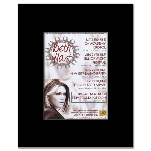 BETH HART - UK Tour 2012 Matted Mini Poster - 13.5x10cm