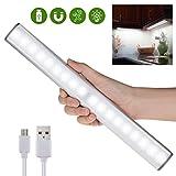 Sensori di movimento Luce del gabinetto chiaro, messa a fuoco automatica luci di chiusura lampo, chiavetta USB ricaricabile su qualsiasi posto Luce bianca magnetica 18 LED per armadio / cassetto