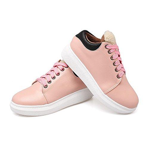 AllhqFashion Damen Gemischte Farbe Pu Leder Rund Zehe Reißverschluss Pumps Schuhe Pink