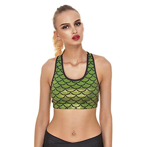 Meijunter Femme Mermaid Échelle de poisson sirène Printing Sport Sous-vêtements LightGreen