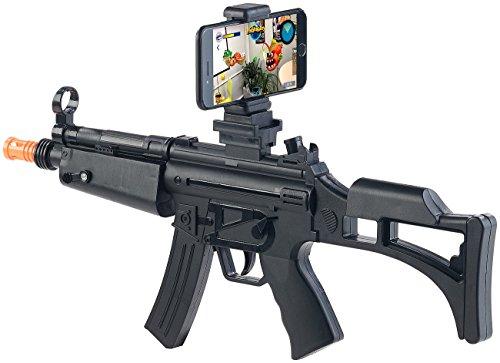 Callstel VR-Gewehr für Smartphone: Augmented-Reality-Gewehr, Bluetooth 4.0, Smartphones bis 85 mm Breite (VR-Spielzeuggewehr)