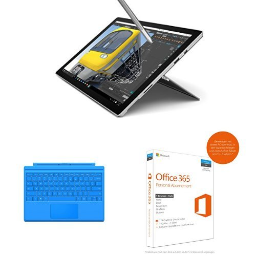 Preisvergleich Produktbild Set aus Microsoft Surface Pro 4 31,24 cm (12,3 Zoll) Tablet-PC (Intel Core i7, 16GB RAM, 512 GB, Intel Iris Graphics, Windows 10 Pro) + Microsoft Surface Pro 4 Type Cover hellblau + Microsoft Office 365 Personal - 1 PC/MAC - 1 Jahresabonnement - multilingual (Product Key Card ohne Datenträger)