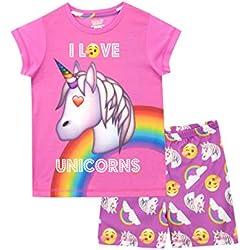 Emoji Pijamas de Manga Corta para niñas Unicornio Rosa 5-6 Años