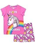Emoji Pijamas de Manga Corta para niñas Unicornio Rosa 7-8 Años