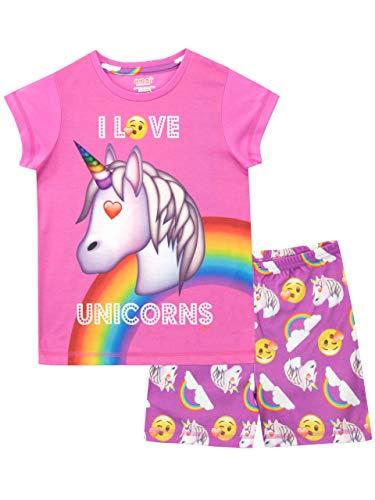 Emoji Pijamas de Manga Corta para niñas Unicornio Rosa 6-7 Años