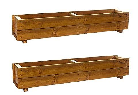 Set of 2 x 120cm Wooden Trough Planters - Large Wood Plant Trough Container Box