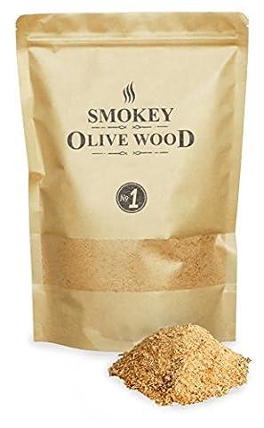 1,5 litres de Sciure, 50% de bois d'olivier et 50% de bois de hêtre, copeaux fins de fumage, Taille du grain 0-1mm, Smokey Olive Wood