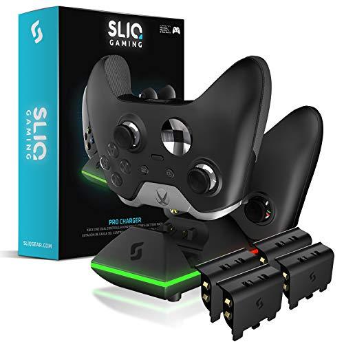 Sliq Gaming Xbox One Controller Ladestation und Quad Akkupack Edition - inkl. 4 Akkus - für Xbox One/One X/One S/Elite - Schwarz