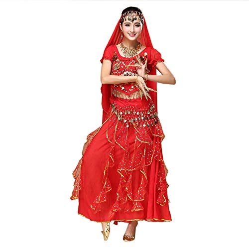 Zolimx Kostüm Damen Indian Dance Bauchtanz Sling Rotating Kleid Kostüme Set Frauen Bauchtanz Outfit Tanzkleidung Top + Rock Sets Bauchtanz Ägypten - Rapunzel Tanz Kostüm