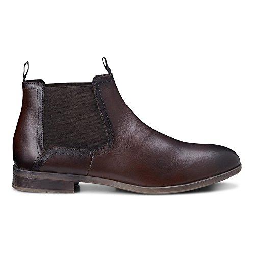 Cox Herren Herren Chelsea Boots aus Leder, lässige Stiefel in Braun mit Rutschfester Sohle Braun Glattleder 44