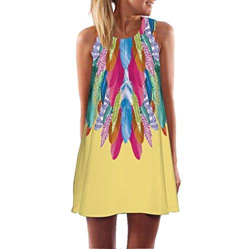 ommer Weinlese Blumendruck Kurzschluss 3D Bild Minikleid Gerades Kleid mit Schmetterlinge Muster (EU-40/CN-M, P-Weiß) (Viktorianischen Kleid Kinder)