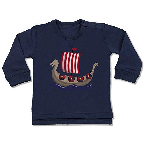 Shirtracer Bunt gemischt Baby - Wikinger-Schiff - 12-18 Monate - Navy Blau - BZ31 - Baby Pullover