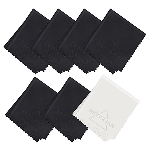 Brillenputztuch: MOSSLIAN Mikrofaser Reinigungstücher Ideal für die Reinigung von Gläsern, Brille, iPad, Tablets, Notebook, Touchscreen Display, Smartphone, Glas, LCD-Bildschirmen und anderen empfindlichen Oberflächen ( 6 Schwarz / 1 Grau)