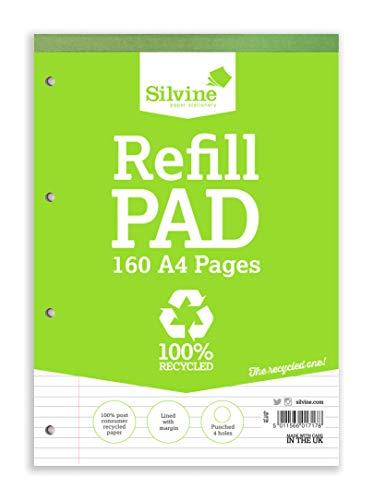 Silvine Réf RE4FM Bloc de cours en papier recyclé Reliure intégrale Ligné avec marge 160 pages 70 g/m² A4 Lot de 6 (Import Royaume Uni)