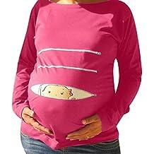 BBestseller Blusa Embarazada para Premamá,Cuello Redondo Estampada Camiseta de Manga Larga para Mamá Top