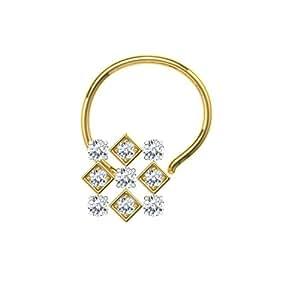 TBZ - The Original 18k (750) Yellow Gold and Diamond Wire Nosepin