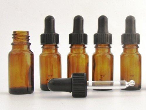 PAQUET DE 5 X Petit 10ml bouteille de Verre ambré aromathérapie avec verre Pipette Couchon haute qualité vide flacon, perfect pour essentielles huiles, parfum huiles, format voyage pulvérisateur