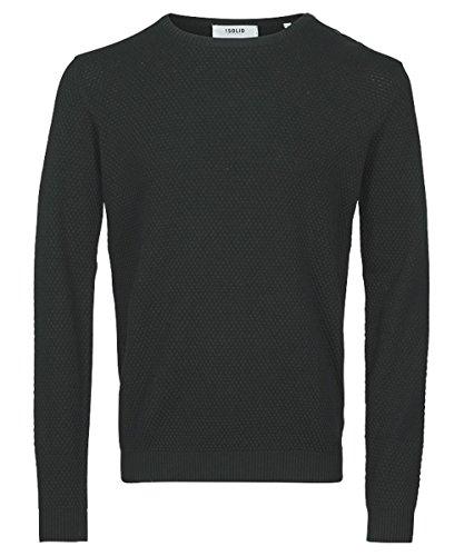 SOLID Knit Gyden Herrenpullover Strickpullover Rundhals Herren Pullover Baumwolle gerade Form , Größe:L, Farbe:DAR GREY M (Pullover Solid Crewneck)