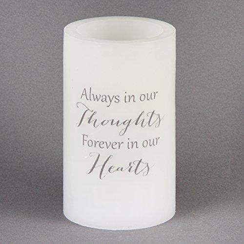Memorial vela siempre en nuestros pensamientos para siempre en nuestros corazones LED Cera Acabado Memorial vela