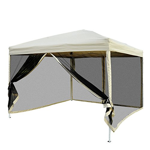 Outsunny Pavillon Faltzelt mit Seitenwänden inkl. Tragetasche, Stahl+Oxford, Beige, 3x3x2,55m Faltpavillon