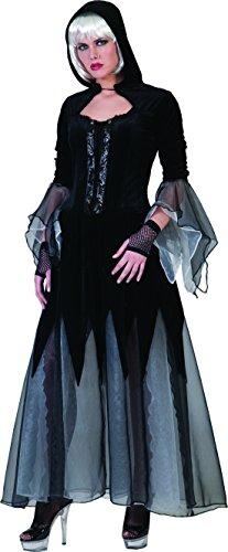 Faschingsfete Damen Halloween Karneval Kostüm Set Gothic Darkness Lady, tote Dolores, M, Mehrfarbig