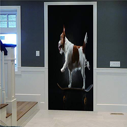 3D Tür Aufkleber Wandaufkleber Dekoration Skateboard Hund Große Tapete Für Kinderzimmer Aufkleber Diy Wandbild (77X200Cm) Weihnachtsgeschenk Autocollants