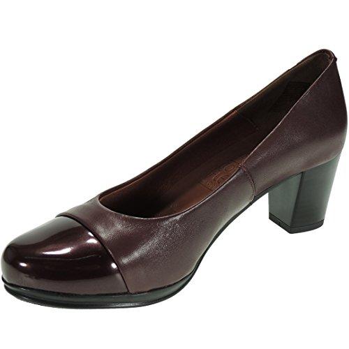 Desiree. Zapato Salón Piel Tacón Ancho de 6 Cm y Punta Charol para Mujer - Modelo 1247, Color Burdeos, Talla 40