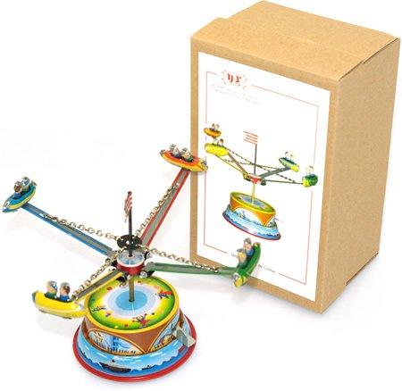 Retro rocket carousel tin toy