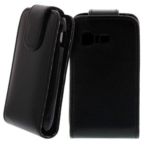Slim Ledertasche Flipcase Schwarz für Samsung Galaxy Pocket GT-S5300 5300 Handytasche Case Hülle Etui Cover Displayschutz Secure