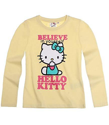 Hello Kitty Langarmshirt Sweatshirt für Mädchen 3 Motive wählbar, Farbe:gelb;Größe:140 (Sweatshirt Mädchen Für Kitty Hello)