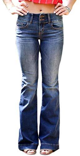 Hongfei-uk Damen-Jeanshose mit hoher Taille, Denim-Hose Gr. S, blau -