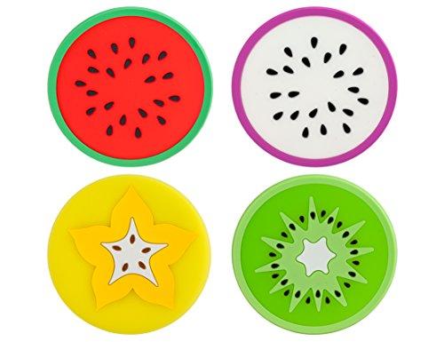 knora 4 Untersetzer, Silikonuntersetzer, Glasuntersetzer; rund; Schutz für Tisch und Bar; Verschiedene Obst - Motive; Mehrfarbig, bunt; Material: Silikon; Durchmesser: 9 cm -
