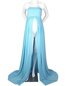 Hopeverl Vestido de gasa de maternidad vestido de gasa delantera Maxi vestido de fotografía para la sesión de...