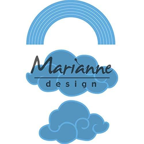 Marianne Design Creatables Präge-und Stanzschablone, Regenbogen und Wolken, für Handwerksprojekte, Metall, hellblau, 6,2 6,4 x 3,3 cm / 4,9 x 3,1 cm