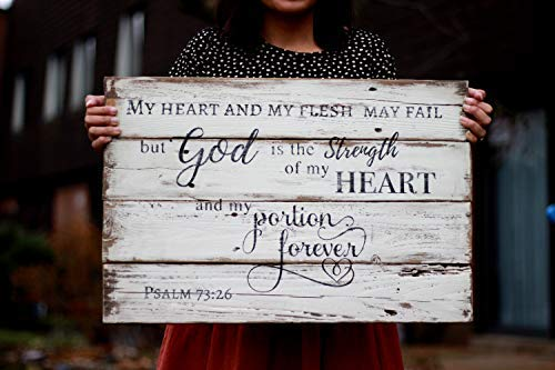 """qidushop Wandschild aus recyceltem Psalm 73:26""""My Heart and My Flesh My Fail (englischsprachig), englische Aufschrift"""