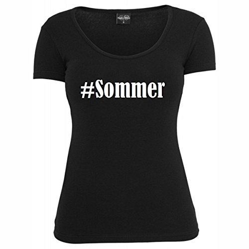 T-Shirt #Sommer Hashtag Raute für Damen Herren und Kinder ... in den Farben Schwarz und Weiss Schwarz