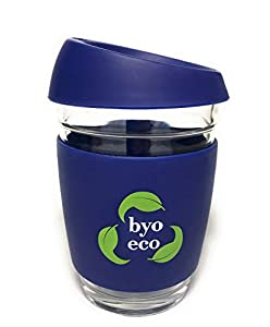 BYO Eco Reusable Glass Takeaway Coffee Cup - Eco Friendly Travel Mug with Splash Proof Silicone Lid and Insulated Sleeve - 12 oz 350 ml