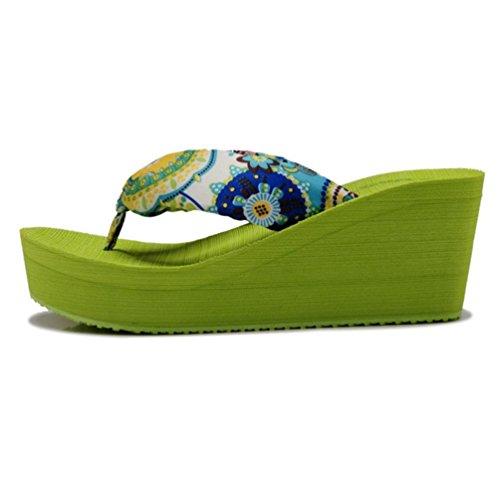 Sandalo Zeppe Spiaggia Verde Alti Pistoni Donne Shangxian wqzFPU