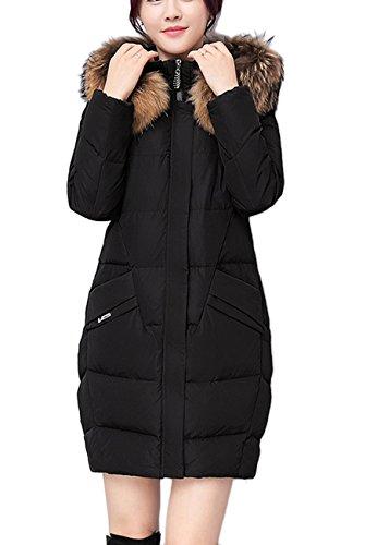 OMZIN Frauen Winter Lange Länge Tasche Fell Fell Abnehmbare Kapuze Schwarz L (Für Frauen, Fell-kapuze Mäntel Unten)