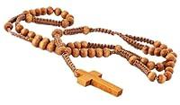 DonDon Holz Rosenkranz mit hellbraunen Holzperlen