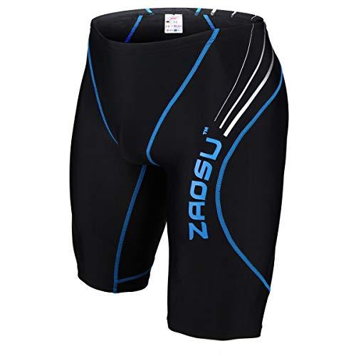 ZAOSU Wettkampf-Schwimmhose Z-Black - Badehose für Jungen und Herren, Größe:8, Farbe:schwarz/blau