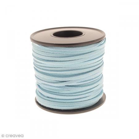 Cavo in camoscio sintetico-3mm-Blu Turchese-al metro (su