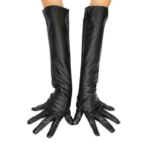 ECOSCO mujeres Long suave piel sintética guantes disfraz accesorio - negro -