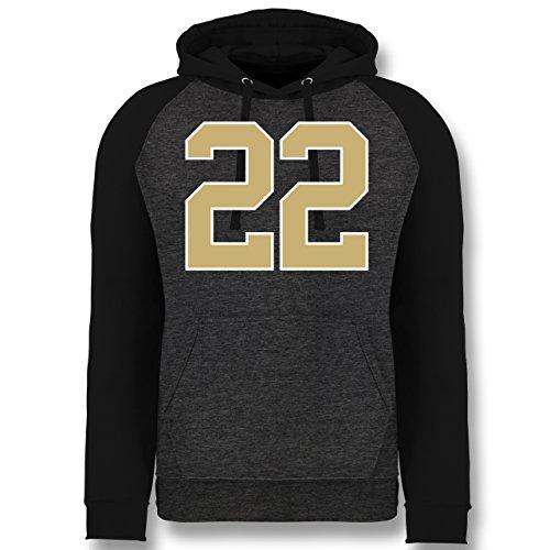 Shirtracer American Football - Football New Orleans 22 - XL - Anthrazit meliert/Schwarz - JH009 - Baseball Hoodie