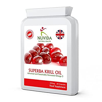 Krill Oil Extract / Superba / 60 Capsules / 500mg / Pure Antarctic Sourced Red Krill / Providing a Rich Source of Omega to Support Healthy Cardiovascular Function / Immune System / Balanced Blood Sugar / Healthy Joints & Bones / 100% Quality Assurance by