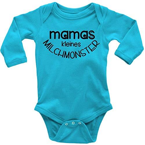 Mikalino Babybody mit Spruch für Jungen Mädchen Unisex Langarm Mamas kleines Milchmonster | handbedruckt in Deutschland | Handmade with Love, Farbe:Atoll, ()