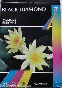 20 Blatt, A4, 220 G/M2, Black Diamond Canvas Inkjet Papier
