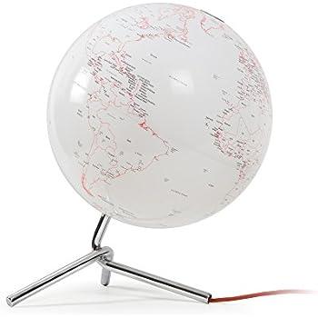 Atmosphere - Globe terrestre lumineux design blanc sur socle chromé